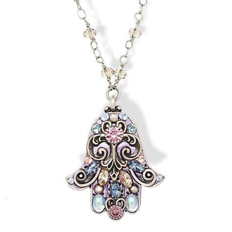 hama necklace jewelry judaica purple and silver hamsa necklace