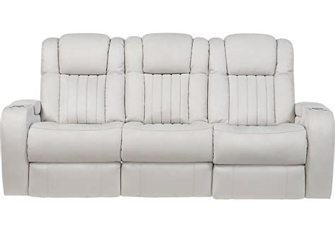 Servillo White Leather Power Reclining Sofa Reclining White Recliner Sofa