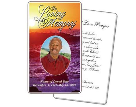 funeral prayer card template free memorial service prayer card twilight prayer card