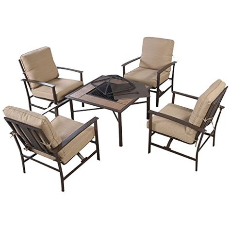 giantex 5 pcs patio furniture set chair bbq stove