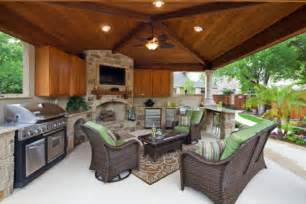Here s a covered patio with outdoor kitchen and cabana furniture