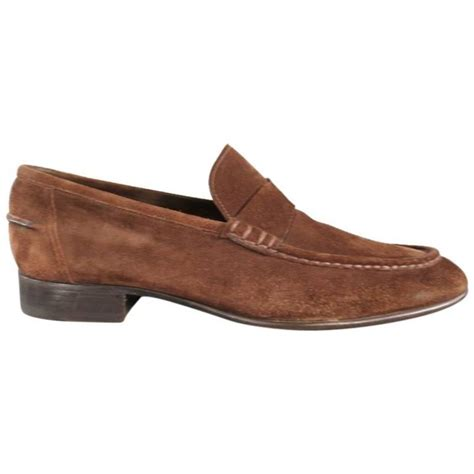 brown heeled loafers tom ford size 10 brown suede low heel loafers at 1stdibs