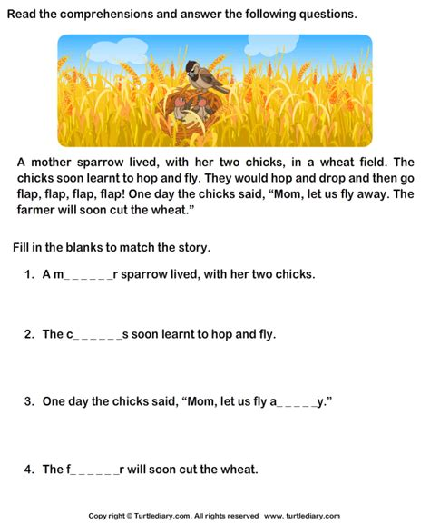 reading comprehension stories worksheet 33 turtle diary