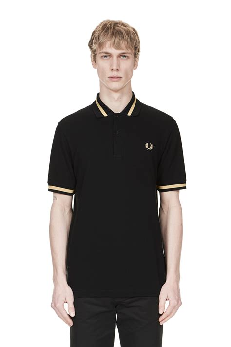 Fred Perry fred perry single tipped fred perry shirt black chagne