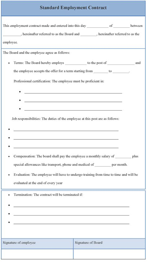 standard contract of employment template contract template for standard employment template of