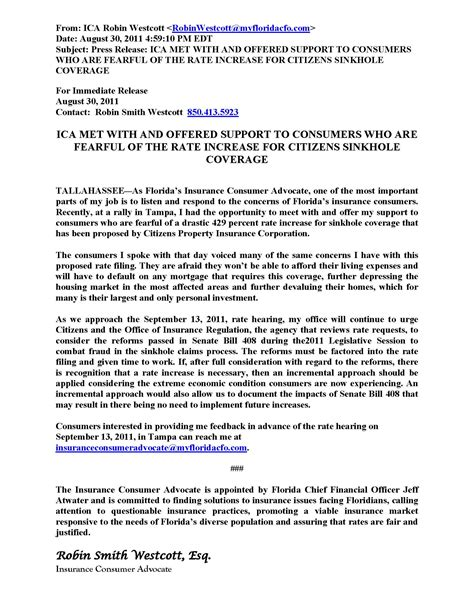 Release Letter Insurance Florida S New Insurance Consumer Advocate Weighs In On Sinkhole Rates Property Insurance