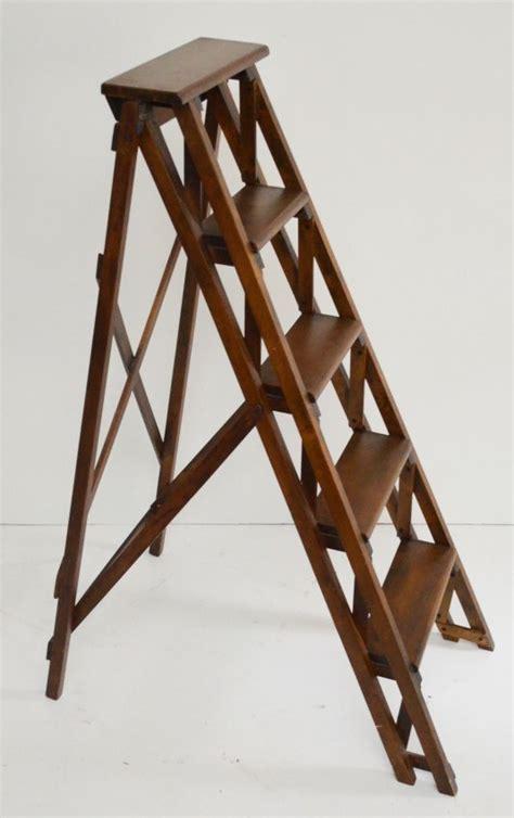 vintage wooden folding library step ladder lot 65