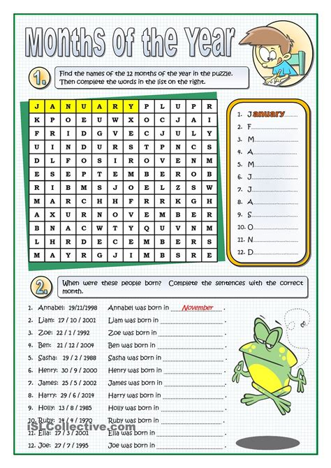 esl printable worksheets months of the year the months of the year enkku pinterest english