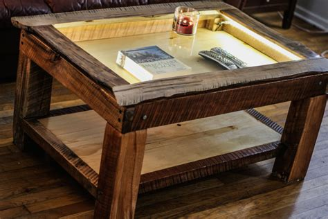 live edge maple shadow box coffee table