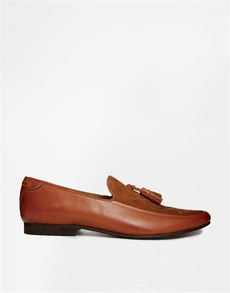 tassel leather loafers lyst asos tassel loafers in leather in brown for