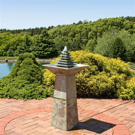 ls plus water fountains sunnydaze layered slate pyramid outdoor water