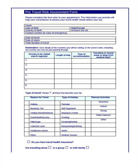 Generic Risk Assessment Template by 36 Sle Risk Assessment Form
