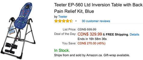 teeter inversion table coupon code amazon canada deals of the day save 45 on teeter