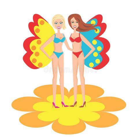 ragazze in costume da bagno le ragazze in costume da bagno illustrazione di stock