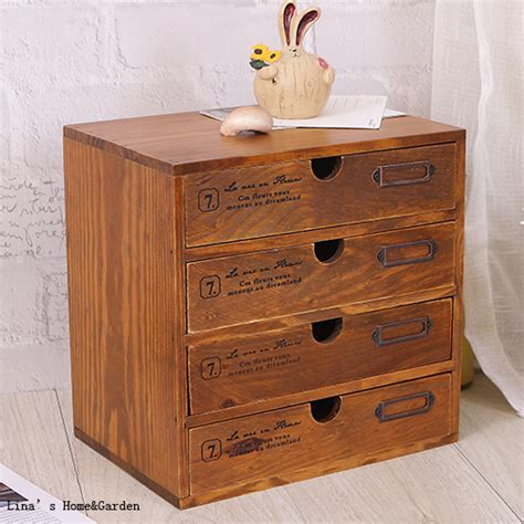 Wooden Small Drawer Cabinet by Vintage Solid Wood 4 Drawers Small Pc Cabinet In Living