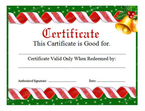 printable christmas certificates free printable christmas gift certificate template exle