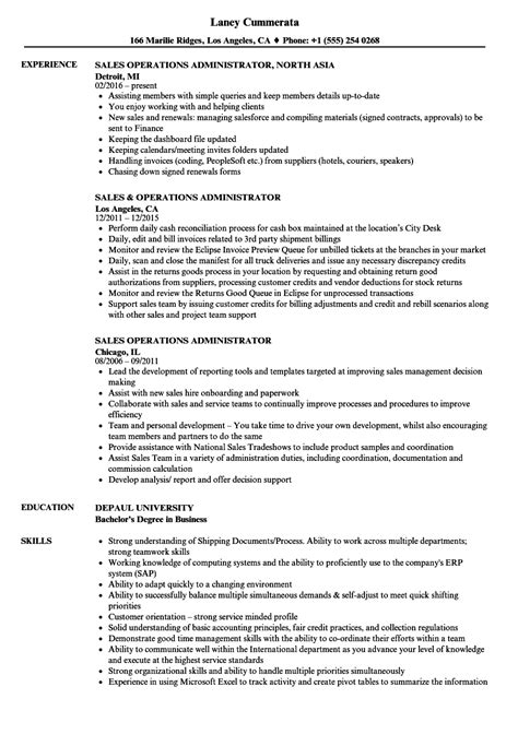 sle operations manager resume sales operations administrator resume sles velvet