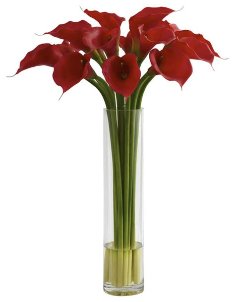 Artificial Flowers And Vases by Nearly Calla With Large Cylinder Vase Traditional Artificial Flower