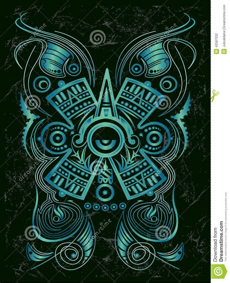 dark stylized mayan symbol tattoo stock vector image