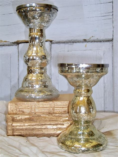 Chunky Silver Candle Holders Vintage Silver Mercury Glass Candle Holders Chunky
