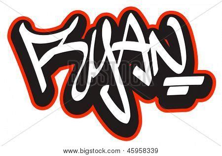 ryan graffiti font style name hip hop design template for