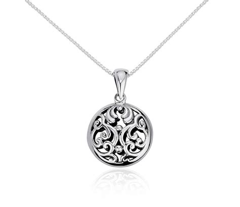 filigree circle pendant in sterling silver blue nile