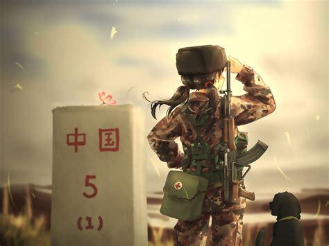 desktop wallpaper soldier army anime girl dog hd image