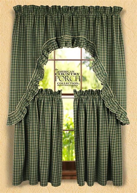 Williamsburg Green Ruffled Window Curtain Swags