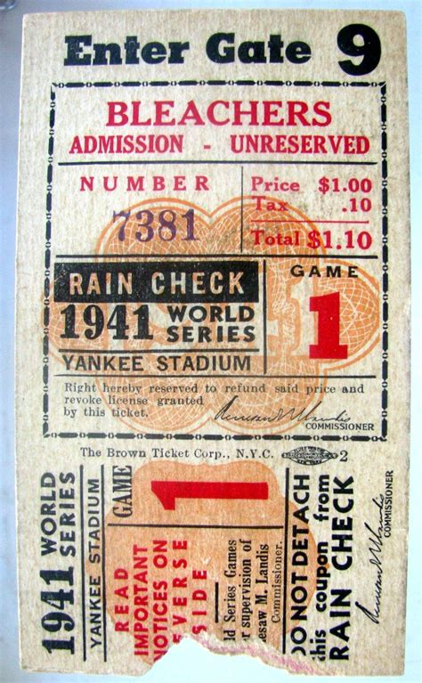 new york yankees tickets prices starting at 7 lot detail 1941 world series ticket stub brooklyn
