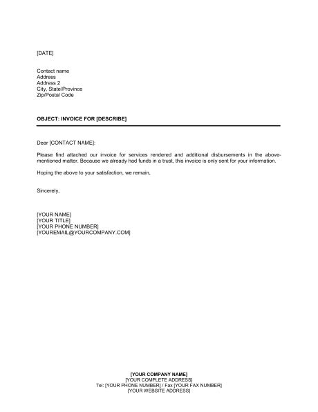 invoice letter template for professional services