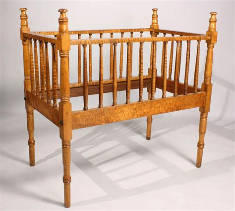 Maple Baby Crib by Lot 137 Tiger Maple Baby Crib Possibly Tennessee