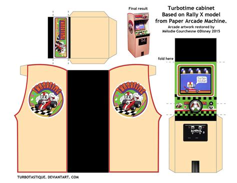 Papercraft Arcade - turbotime cabinet in papercraft version by turbotastique