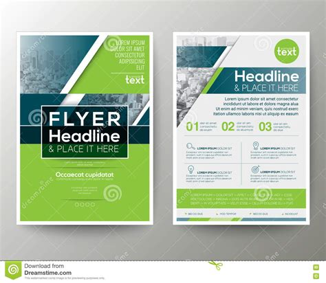 layout for flyer green and blue geometric poster brochure flyer design