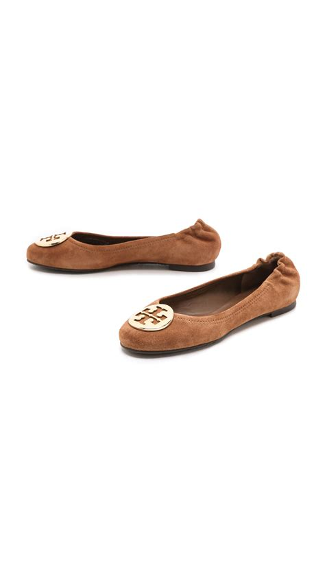 Burch Reva Flats Ghw 38 burch reva suede ballet flats in brown cella brown gold lyst
