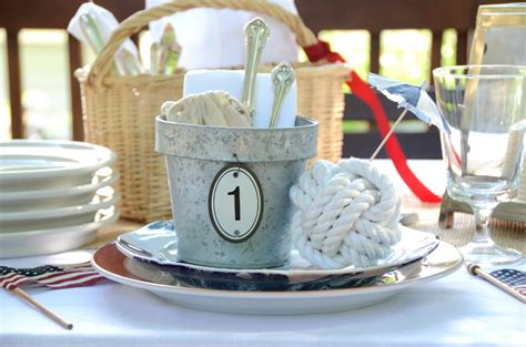 Nautical Table Decor by Iron Twine Memorial Day Nautical Table Setting