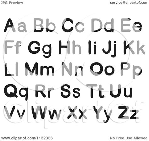 Cartoon Of Black And White Alphabet Letters - Royalty Free ... Free Black And White Clip Art Letters
