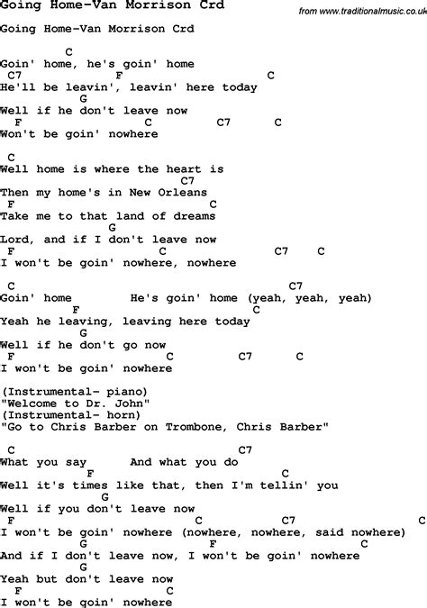 skiffle lyrics for going home morrison with chords