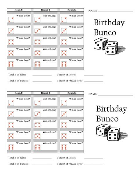 bunco templates birthday bunco score card templates bunco