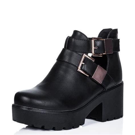 buy vamos heeled cleated sole cut out platform ankle boots