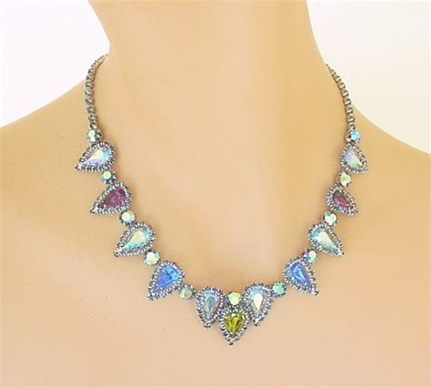 vintage costume jewelry rhinestone choker necklace