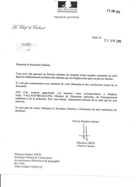 Lettre De Présentation Pièce Jointe Lettre Du Cabinet Du Premier Ministre 224 L Aphg Association Des Professeurs D Histoire Et De