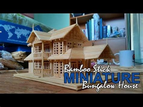 miniature homes models bamboo stick miniature house bungalow house youtube