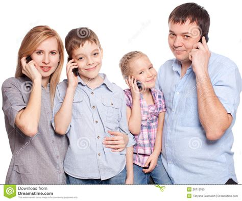 family speaking on the phone royalty free stock photo