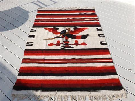 blanket rug vintage mexico wool serapethunderbird snake blanket rug 83 quot x47 quot w fringe ebay