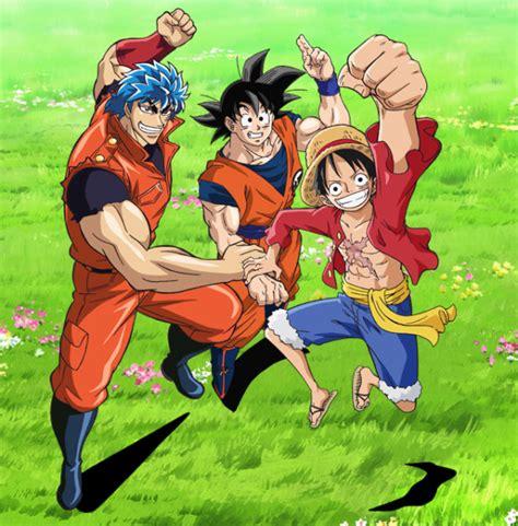 goku and luffy vs toriko l anime dream 9 toriko one piece dragon ball z en