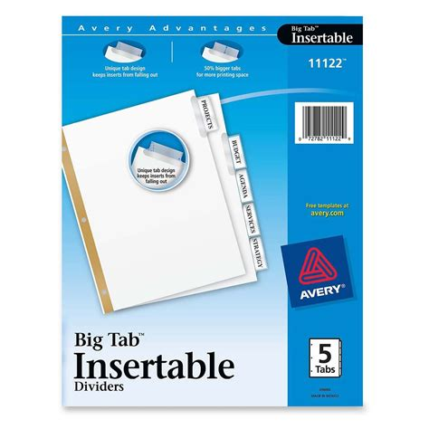 avery big tab inserts for dividers 8 tab template avery wi2135c worksaver big tab insertable indexes 5 print