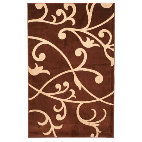 3 foot area rugs berber leaves brown 3 ft 3 in x 5 ft area rug 62 56302bl 335 the home depot