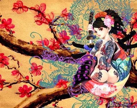 couple tattoo hd wallpaper cute anime girl with tatto wallpaper hd super wallpapers