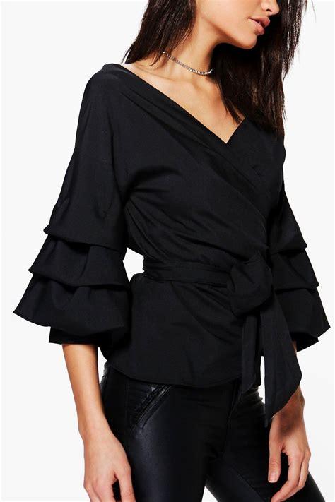 Sleeve Wrap Top boohoo womens amelie ruffle tiered sleeve wrap top ebay