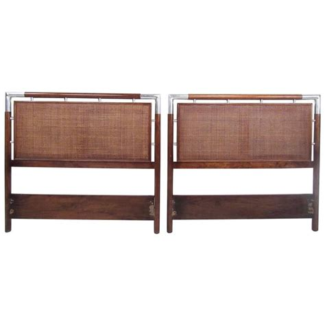 modern twin headboard pair of mid century modern cane and chrome twin size